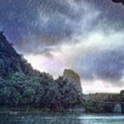 Lijiang River Boat Tour In The Rain-arttopan-china Guilin Scenery Art Print