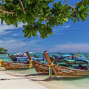 Long-tail Boats, The Andaman Sea And Hills In Ko Phi Phi Don, Th Art Print