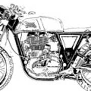 Motorcycle Art, Black And White Art Print