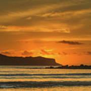 Orange Sunrise Seascape And Silhouettes Art Print