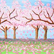 Pink Garden, Oil Painting Art Print