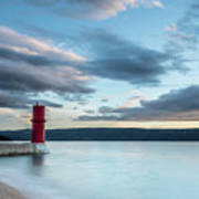 Red Lighthouse Of Cres On A Cloudy Day In Spring Art Print