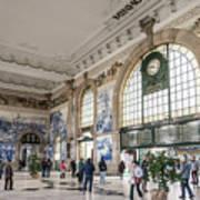 Sao Bento Railway Station Landmark Interior In Porto Portugal Art Print