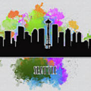 Seattle Skyline Silhouette Art Print