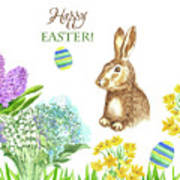 Spring Rabbit And Flowers Art Print