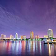 St Petersburg Florida City Skyline And Waterfront At Night Art Print