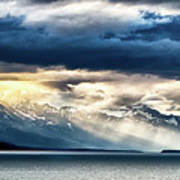 Sunset In Alaskan Fjords In Mud Bay Near Sjagway Art Print