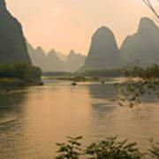 Sunset On The Li River Art Print