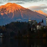 Sunset Over Lake Bled Art Print