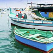 Traditional Boats At Marsaxlokk Harbor In Malta Art Print