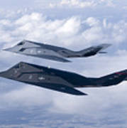 Two F-117 Nighthawk Stealth Fighters Art Print by HIGH-G Productions