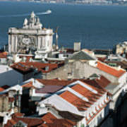 View Of Lisbon Harbor And Clock Tower Art Print