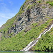 Waterfall In Geiranger Norway Art Print