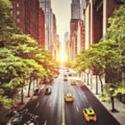 42nd Street In New York During The Day  Art Print