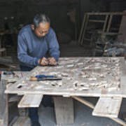 4466- Wood Carver Art Print