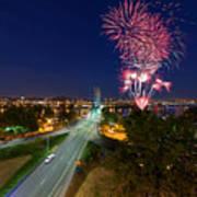 4th Of July Fireworks Portland Oregon Art Print