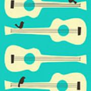Birds On Guitar Strings Art Print by Jazzberry Blue
