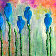 5 Bluebirds Of Happiness Art Print