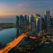 Cityscape Of Singapore City Art Print