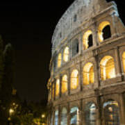 Coliseum Illuminated At Night. Rome Art Print