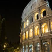 Coliseum Illuminated At Night. Rome Art Print by Bernard Jaubert