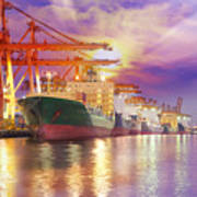 Container Cargo Freight Ship  Art Print by Anek Suwannaphoom