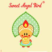 Cute Art - Sweet Angel Bird In A Folk Headdress Holding A Stack Of Pancakes With Butter Wall Art Print Art Print