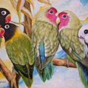 Flygende Lammet     Productions          5 Lovebirds Sitting On A Twig Art Print