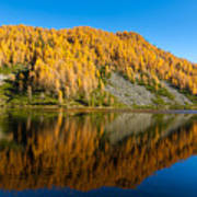 Reflections On Water, Autumn Panorama From Mountain Lake Art Print