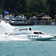 Roostertail From Racing Hydroplanes Boats On The Detroit River For Gold Cup Art Print