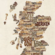 Scotland Typography Text Map Art Print