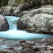 Slow Shutter Photo Of Figarella River At Bonifatu In Corsica Art Print