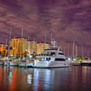 St Petersburg Florida City Skyline And Waterfront At Night Art Print