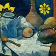 Still Life With Teapot And Fruit Art Print