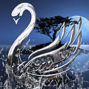 Swan Art. Art Print