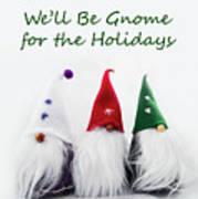 Three Holiday Gnomes 2a Art Print