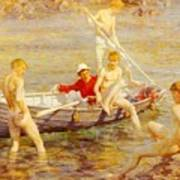 Tuke Henry Scott Ruby Gold And Malachite Henry Scott Tuke Art Print