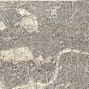 Vintage Map Of London England  Art Print