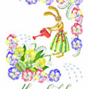 Welcome Spring. Rabbit And Flowers Art Print