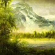 Landscape Nature Drawing Art Print