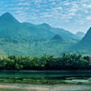 Lijiang River And Karst Mountains Scenery Art Print