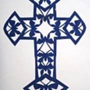 Blue Butterfly-cross Art Print