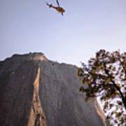 Climber Rescue Operation In Yosemite Art Print