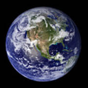 Full Earth Showing North America Art Print by Stocktrek Images