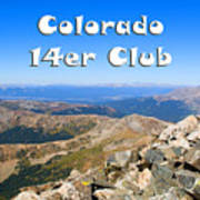 Hikers And Scenery On Mount Yale Colorado Art Print