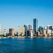 Miami Florida City Skyline Morning With Blue Sky Art Print