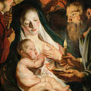 The Holy Family With Shepherds Art Print
