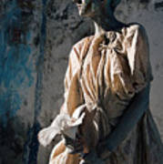 Woman In Bronze Statue Look With Patina Body Paint Art Print