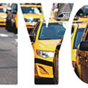 Yellow Cab Speeds Through Times Square In New York, Ny, Usa.  Art Print