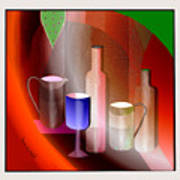 643  Still Life  With Bottles And  Cups  V  Art Print